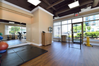 Physiotherapy exercise room with dumbbells, exercise mats, and exercise balls