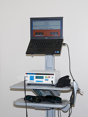 BioFlex Laser Therapy equipment that is hooked up to a computer