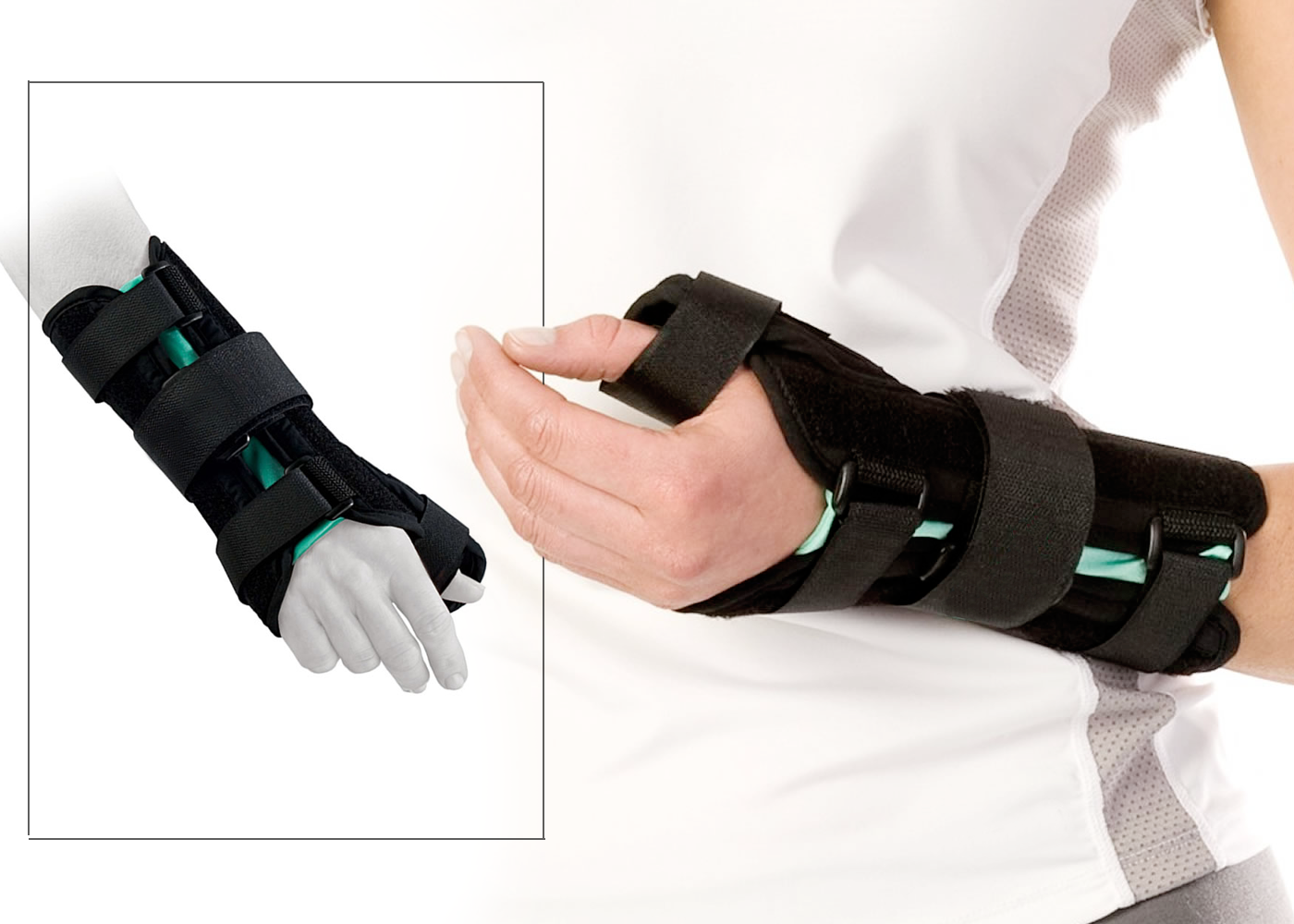 A patient and diagram wearing custom wrist braces