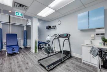 treadmill and stationary bike used for physical therapy exercise